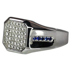 Georgios Collections 18 Karat White Gold Men's Diamond Sapphire Geometric Ring