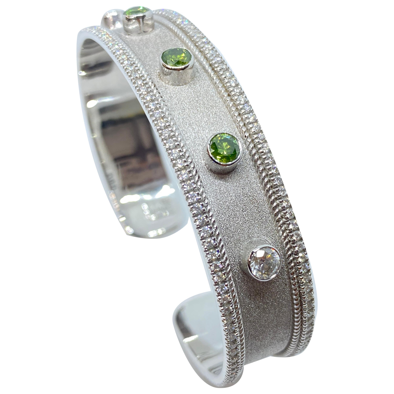 Georgios Collections 18 Karat White Gold Multi-Color Diamond Cuff Bracelet