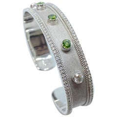 Georgios Collections 18 Karat White Gold Multi-Color Diamond Cuff Bracelet