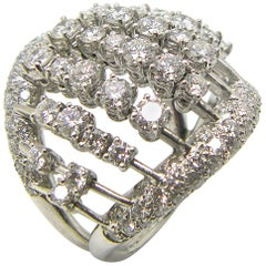Georgios Collections 18 Karat White Gold Multiple Loose Diamond Wide Dome Ring