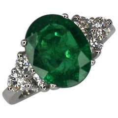 Georgios Collections 18 Karat White Gold Oval Natural Emerald and Diamond Ring