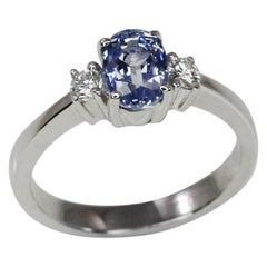 Georgios Collections 18 Karat White Gold Oval Natural Sapphire and Diamond Ring