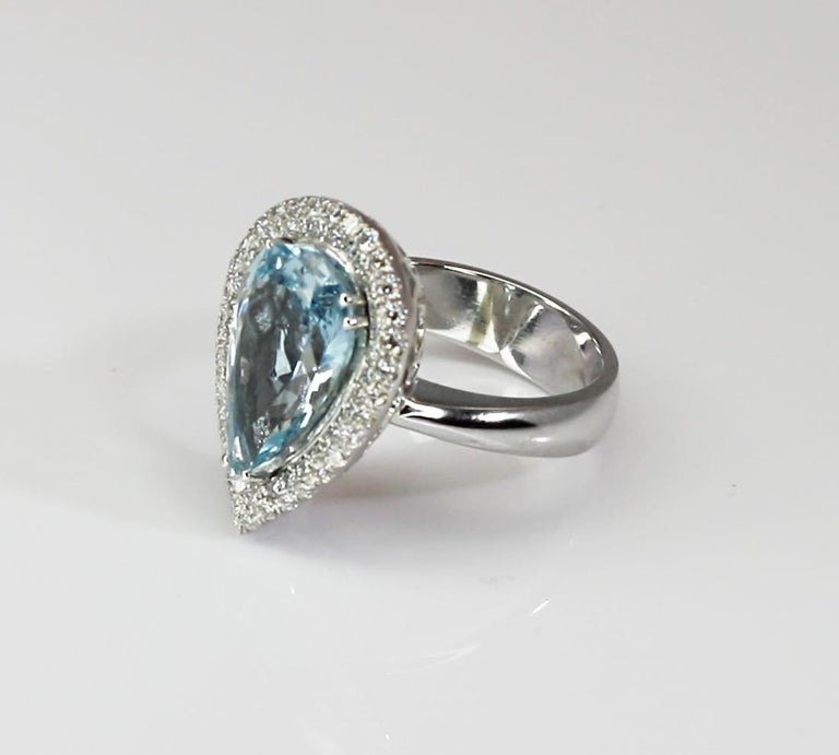 Georgios Collections 18 Karat White Gold Pear Cut Aquamarine and Diamond Ring For Sale 5