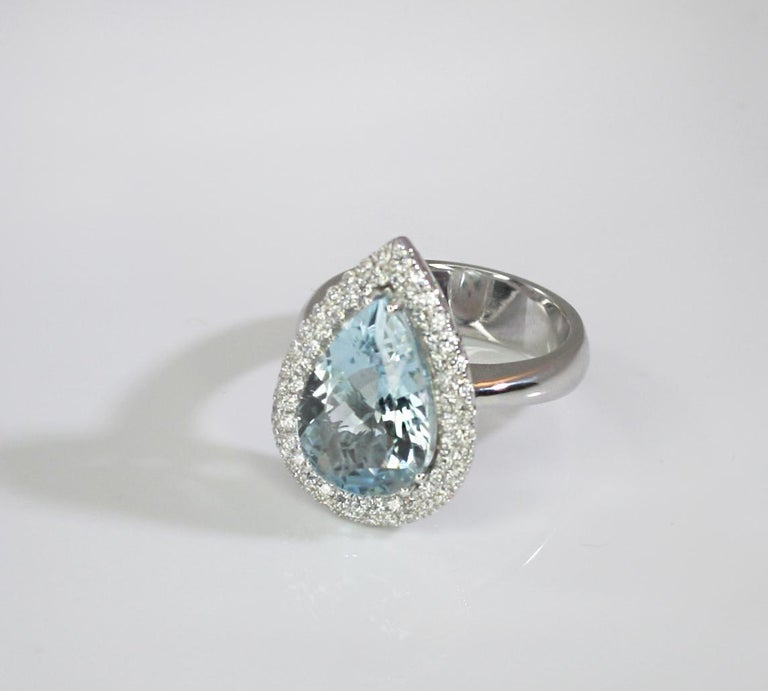Georgios Collections 18 Karat White Gold Pear Cut Aquamarine and Diamond Ring For Sale 6