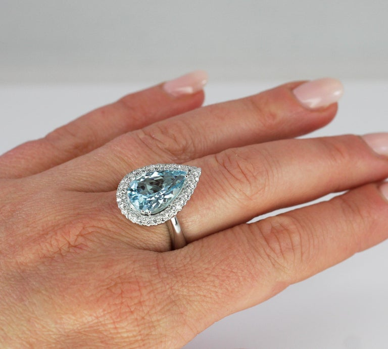 Georgios Collections 18 Karat White Gold Pear Cut Aquamarine and Diamond Ring For Sale 7