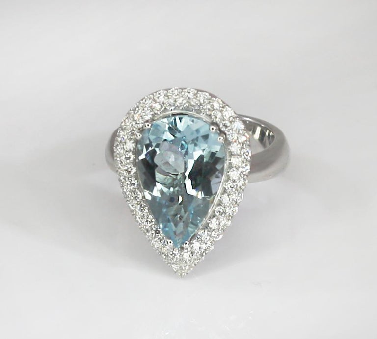 Georgios Collections 18 Karat White Gold Pear Cut Aquamarine and Diamond Ring For Sale 8