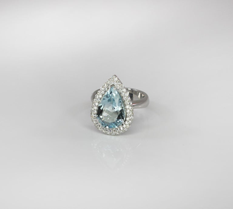Contemporary Georgios Collections 18 Karat White Gold Pear Cut Aquamarine and Diamond Ring For Sale