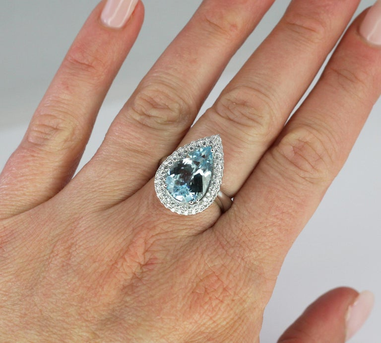 Georgios Collections 18 Karat White Gold Pear Cut Aquamarine and Diamond Ring In New Condition For Sale In Astoria, NY