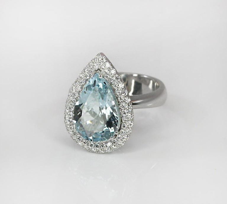 Women's Georgios Collections 18 Karat White Gold Pear Cut Aquamarine and Diamond Ring For Sale
