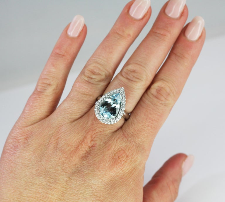 Georgios Collections 18 Karat White Gold Pear Cut Aquamarine and Diamond Ring For Sale 3