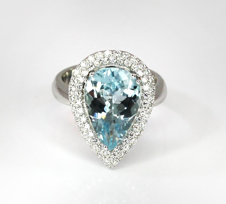 Georgios Collections 18 Karat White Gold Pear Cut Aquamarine and Diamond Ring For Sale 4