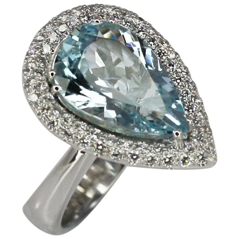 Georgios Collections 18 Karat White Gold Pear Cut Aquamarine and Diamond Ring For Sale