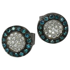 Georgios Collections 18 Karat White Gold Blue And White Diamond Stud Earrings