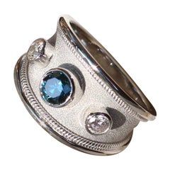 Georgios Collections 18 Karat White Gold Ring with Blue and White Diamonds