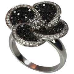 Georgios Collections 18 Karat White Gold Ring with White and Black Diamond