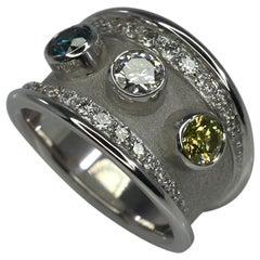 Georgios Collections 18 Karat White Gold Ring with Yellow Blue White Diamond