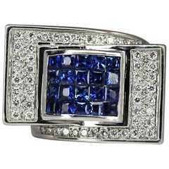 Georgios Collections 18 Karat White Gold Sapphire Diamond Geometric Band Ring