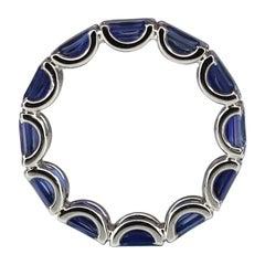 Georgios Collections 18 Karat White Gold Sapphire Tennis Band Ring
