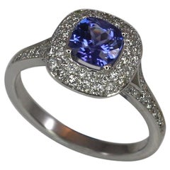 Georgios Collections 18 Karat White Gold Tanzanite and Diamond Rosette Ring