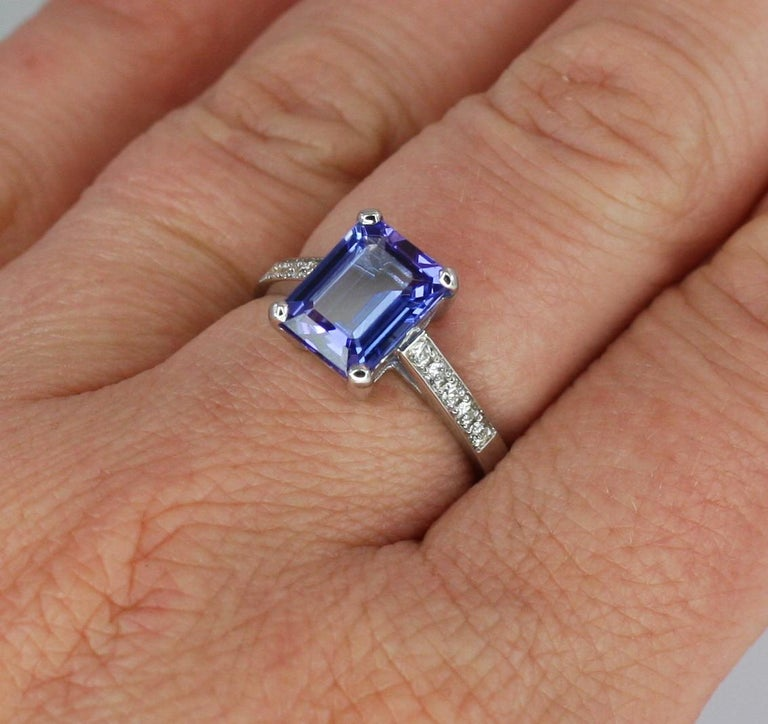 Contemporary Georgios Collections 18 Karat White Gold Tanzanite Solitaire Ring with Diamonds For Sale