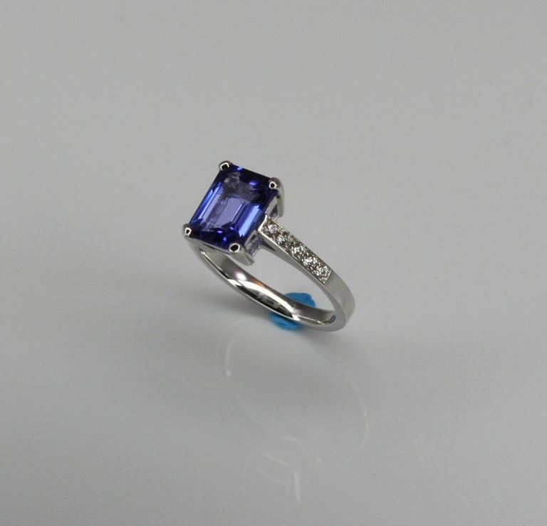 Emerald Cut Georgios Collections 18 Karat White Gold Tanzanite Solitaire Ring with Diamonds For Sale