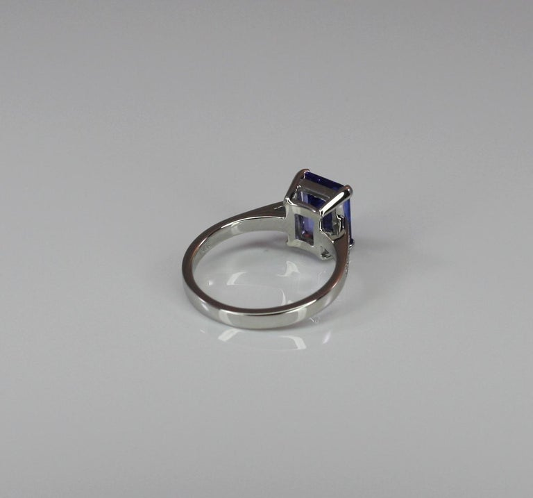 Georgios Collections 18 Karat White Gold Tanzanite Solitaire Ring with Diamonds In New Condition For Sale In Astoria, NY