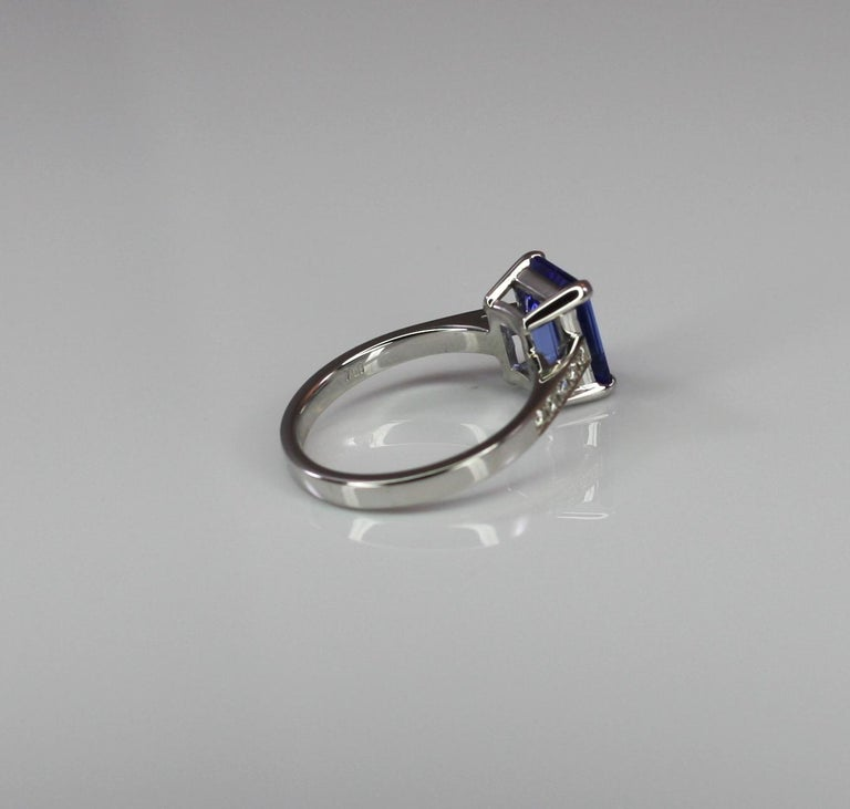 Women's Georgios Collections 18 Karat White Gold Tanzanite Solitaire Ring with Diamonds For Sale