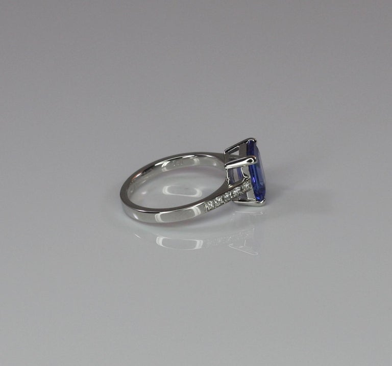 Georgios Collections 18 Karat White Gold Tanzanite Solitaire Ring with Diamonds For Sale 1
