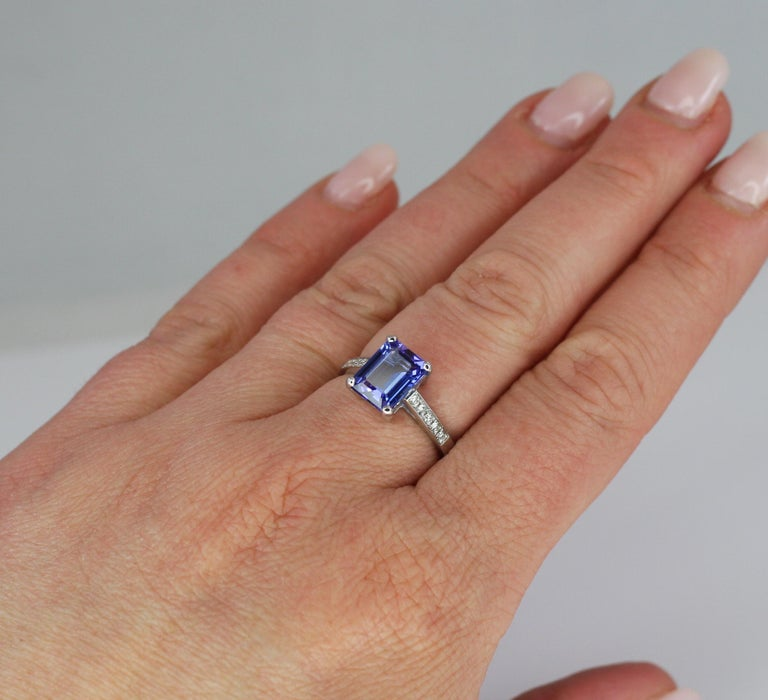 Georgios Collections 18 Karat White Gold Tanzanite Solitaire Ring with Diamonds For Sale 2