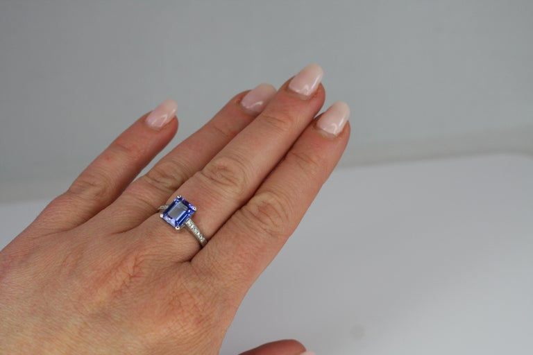 Georgios Collections 18 Karat White Gold Tanzanite Solitaire Ring with Diamonds For Sale 3