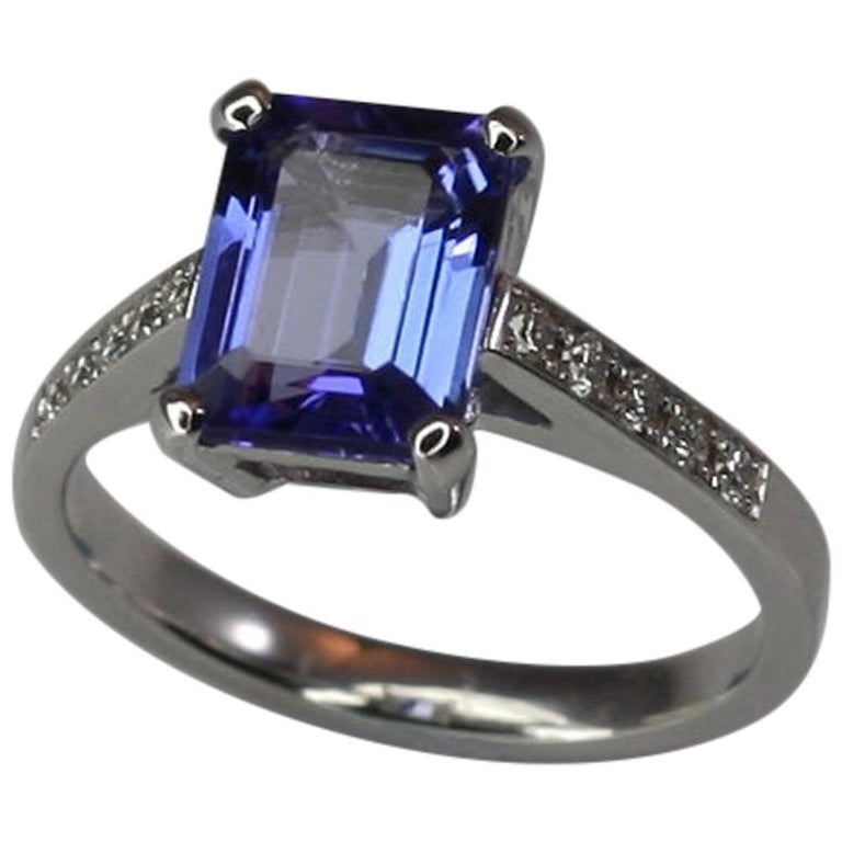 Georgios Collections 18 Karat White Gold Tanzanite Solitaire Ring with Diamonds For Sale