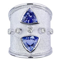Georgios Collections 18 Karat White Gold Trilliant Tanzanite and Diamond Ring