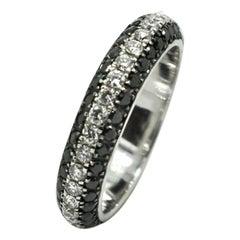 Georgios Collections 18 Karat White Gold White and Black Diamond Two-Tone Ring