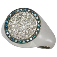 Georgios Collections 18 Karat White Gold White and Blue Diamond Round Band Ring
