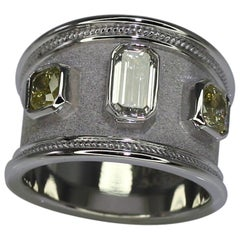 Georgios Collections 18 Karat White Gold Yellow & White Emerald Cut Diamond Ring