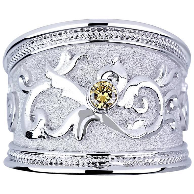 Georgios Collections 18 Karat White Gold Yellow Diamond Granulation Band Ring