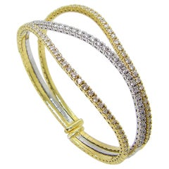 Georgios Collections 18 Karat Yellow and White Gold Diamond Cuff Bracelet