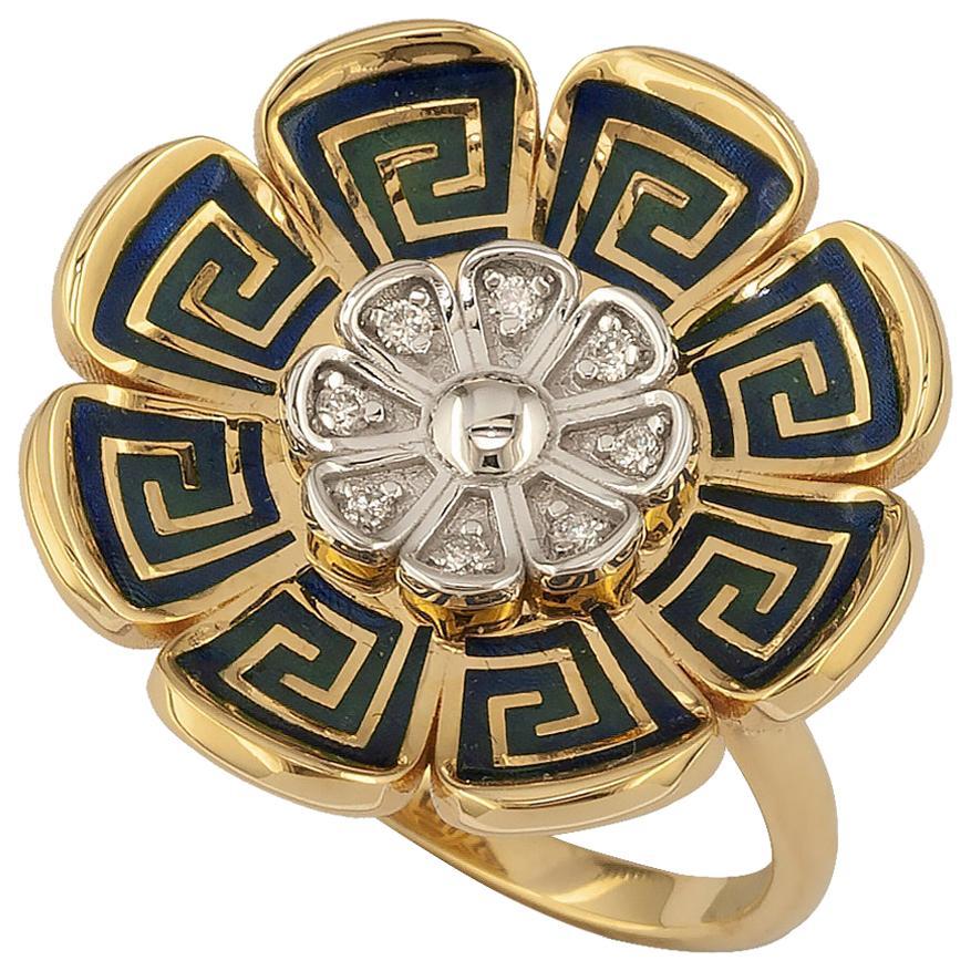Georgios Collections 18 Karat Yellow and White Gold Diamond Greek Key Band Ring
