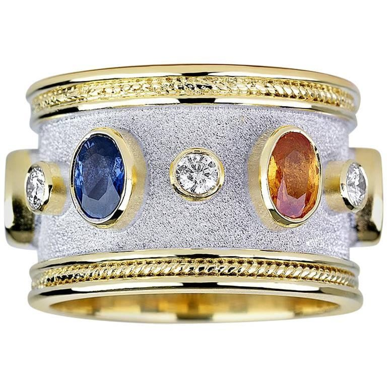 Byzantine Georgios Collections 18 Karat Yellow and White Gold Diamond Multi Sapphires Ring For Sale