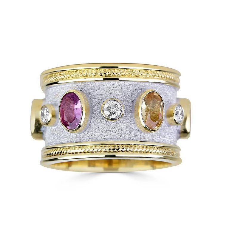 Georgios Collections 18 Karat Yellow and White Gold Diamond Multi Sapphires Ring In New Condition For Sale In Astoria, NY