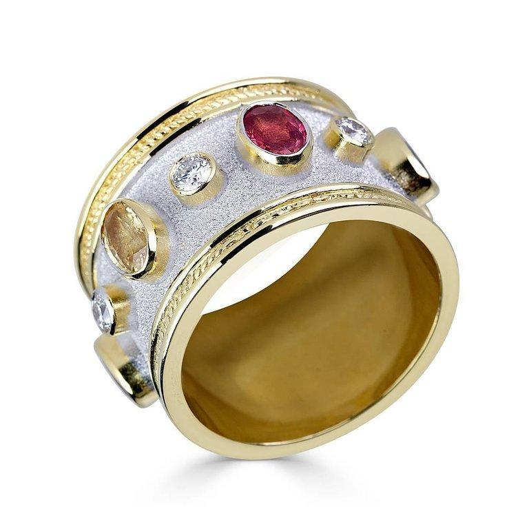 Women's or Men's Georgios Collections 18 Karat Yellow and White Gold Diamond Multi Sapphires Ring For Sale