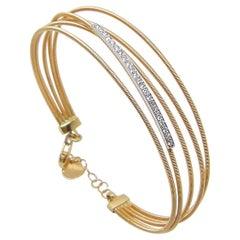 Georgios Collections 18 Karat Yellow and White Gold Diamond Multi Strap Bracelet