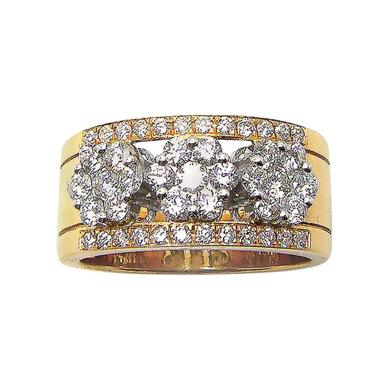 Georgios Collections 18 Karat Yellow and White Gold Two-Tone Diamond Band Ring