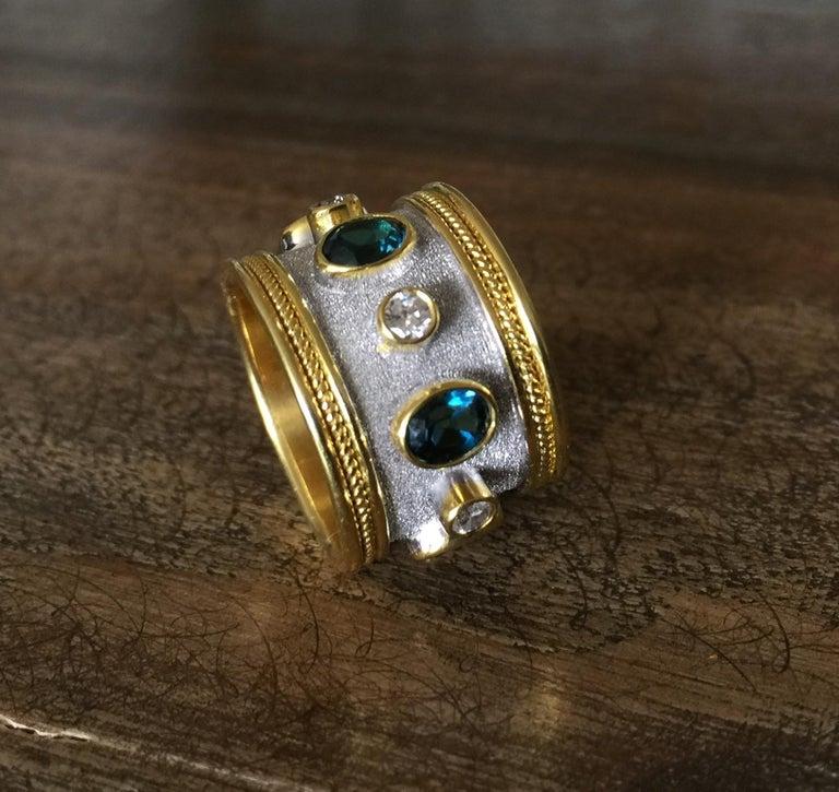 Georgios Collections 18 Karat Yellow Gold White Rhodium Diamond Topaz Wide Ring For Sale 4