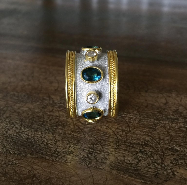 Georgios Collections 18 Karat Yellow and White Rhodium Diamond and Topaz Ring For Sale 5