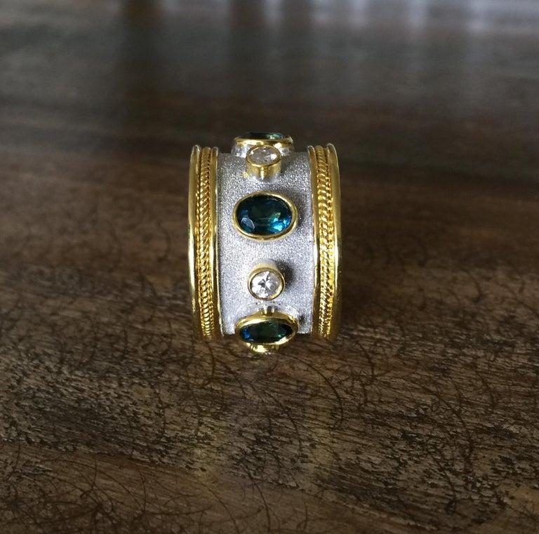 Georgios Collections 18 Karat Yellow Gold White Rhodium Diamond Topaz Wide Ring For Sale 5