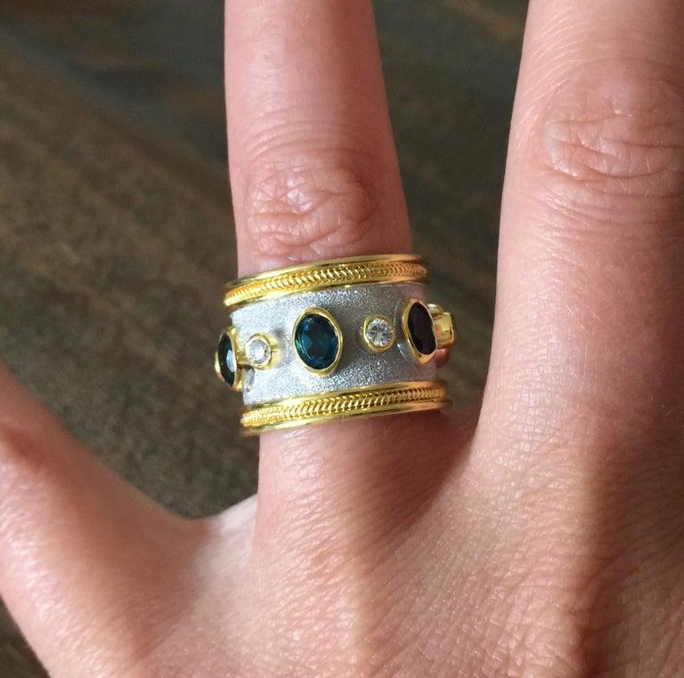 Georgios Collections 18 Karat Yellow Gold White Rhodium Diamond Topaz Wide Ring For Sale 6