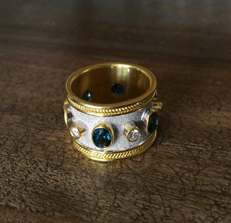 Georgios Collections 18 Karat Yellow Gold White Rhodium Diamond Topaz Wide Ring For Sale 7