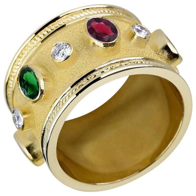 Georgios Collections 18 Karat Yellow Gold White Rhodium Diamond Topaz Wide Ring For Sale 9