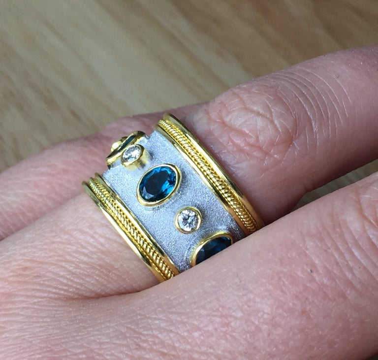 Oval Cut Georgios Collections 18 Karat Yellow Gold White Rhodium Diamond Topaz Wide Ring For Sale